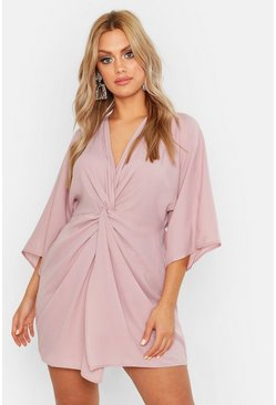 Stone Plus  Knot Detail 3/4 Sleeve Dress