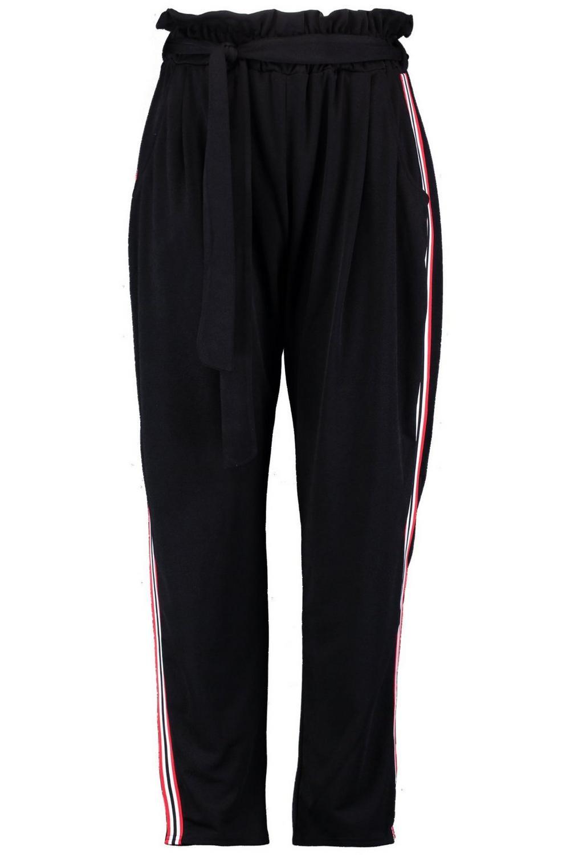 Plus pantalones negro rayas laterales a fruncidos rrw7x4q