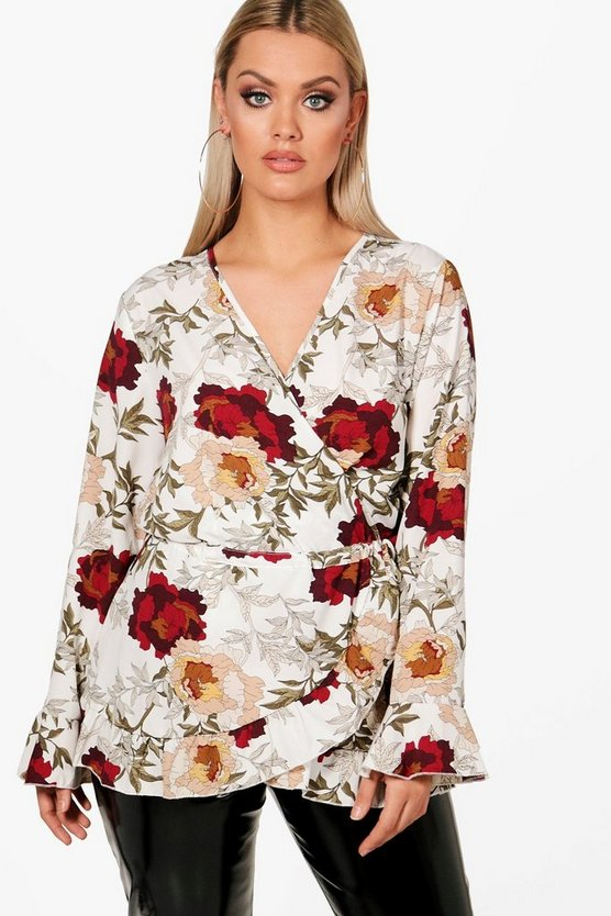 Womens Ivory Plus Floral Wrap Peplum Top