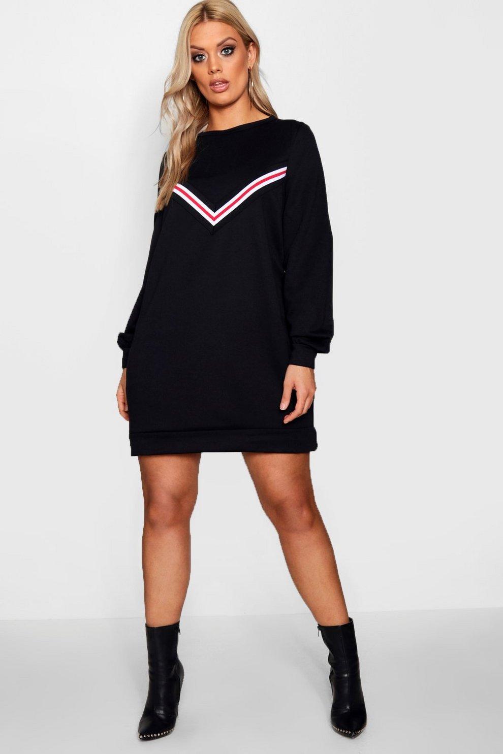 5723a4749adc81 Plus sportliches Sweatshirt-Kleid, Schwarz, Damen