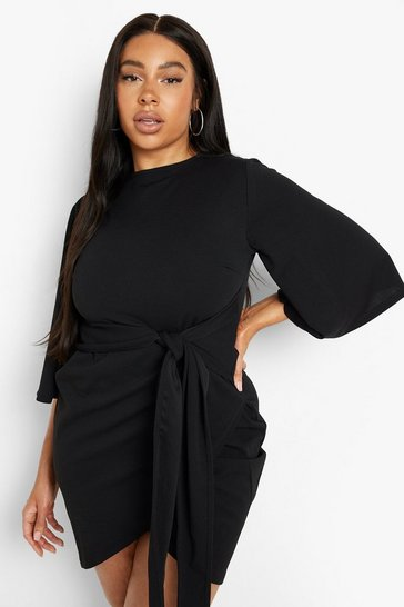 Black Plus  Kimono Sleeve Tie Waist Wrap Dress