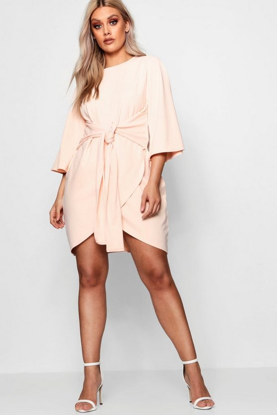 Womens Blush Plus  Kimono Sleeve Tie Waist Wrap Dress