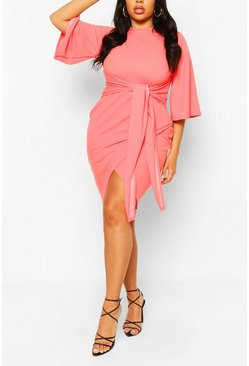 Coral Plus  Kimono Sleeve Tie Waist Wrap Dress