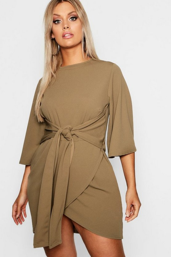Womens Khaki Plus  Kimono Sleeve Tie Waist Wrap Dress