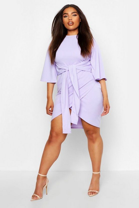 Womens Lilac Plus  Kimono Sleeve Tie Waist Wrap Dress