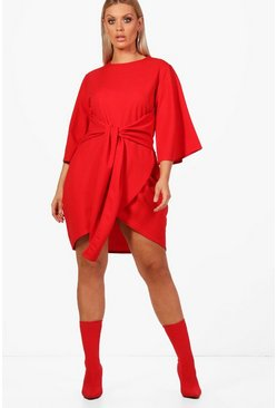 Womens Red Plus  Kimono Sleeve Tie Waist Wrap Dress