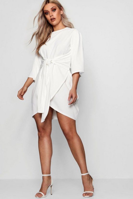 White Plus  Kimono Sleeve Tie Waist Wrap Dress