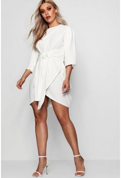 Womens White Plus  Kimono Sleeve Tie Waist Wrap Dress