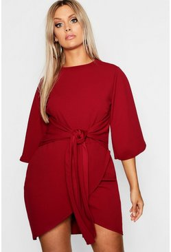 Womens Wine Plus  Kimono Sleeve Tie Waist Wrap Dress
