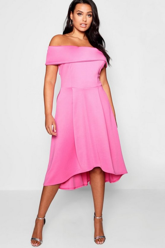 Womens Hot pink Plus Double Layer Midi Dress