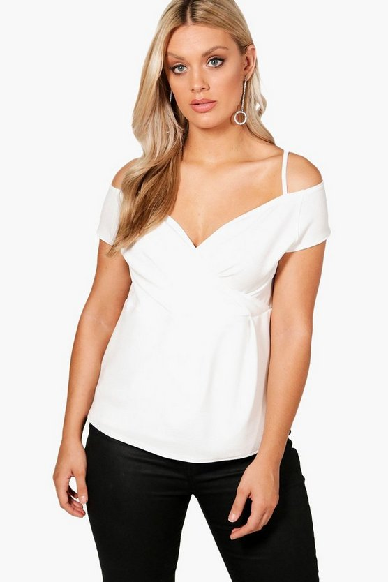 Plus Open Shoulder Wrap Top