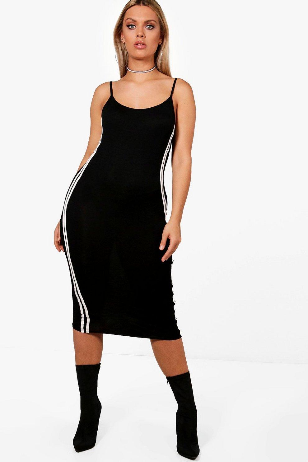 6f087ba598d62 Plus Kate Sports Stripe Basic Bodycon Dress   Boohoo