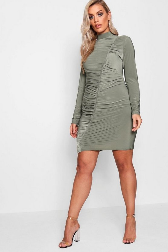 Plus Slinky Ruched Bodycon Dress