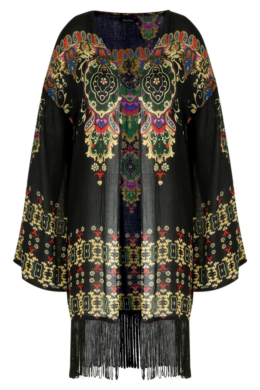 Plus estampado flecos Kimono negro con YOwqZq