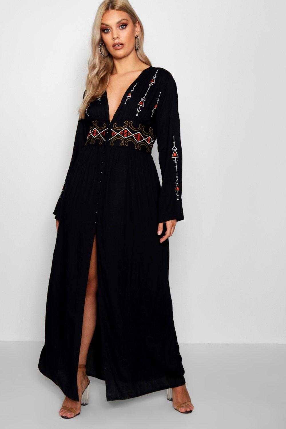 70s Disco Fashion: Disco Clothes, Outfits for Girls Womens Plus Embroidered Plunge Maxi Dress - Black - 16 $22.50 AT vintagedancer.com