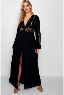 Womens Black Plus  Embroidered Plunge Maxi Dress
