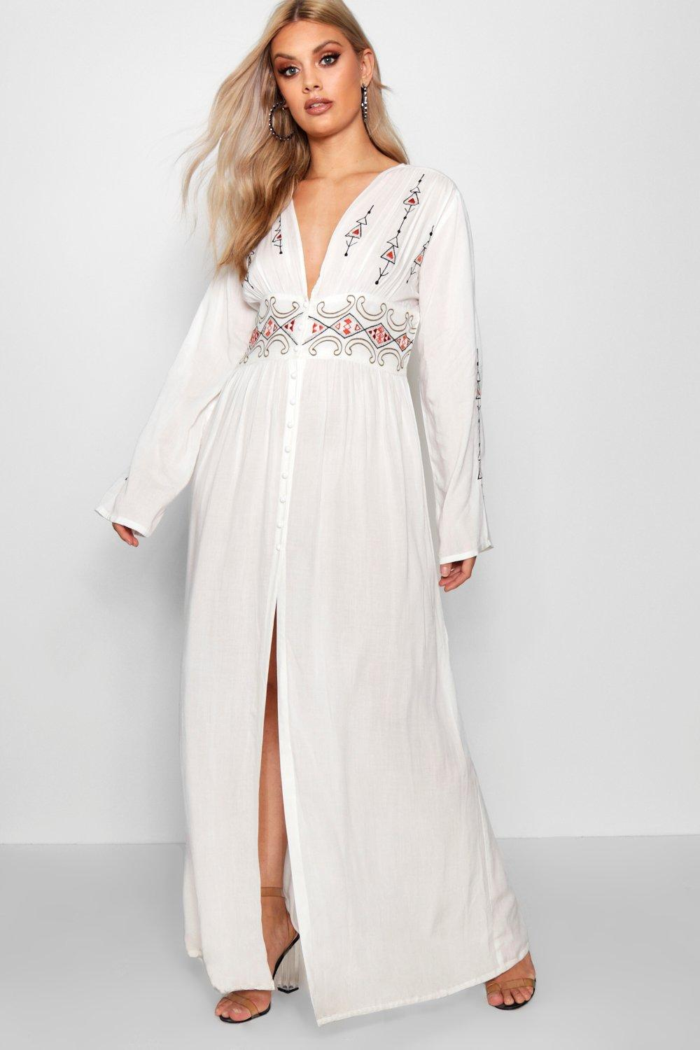 70s Dresses – Disco Dress, Hippie Dress, Wrap Dress Womens Plus Embroidered Plunge Maxi Dress - White - 16 $20.00 AT vintagedancer.com