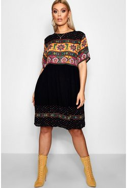 Black Plus Cerys Retro Print Smock Dress