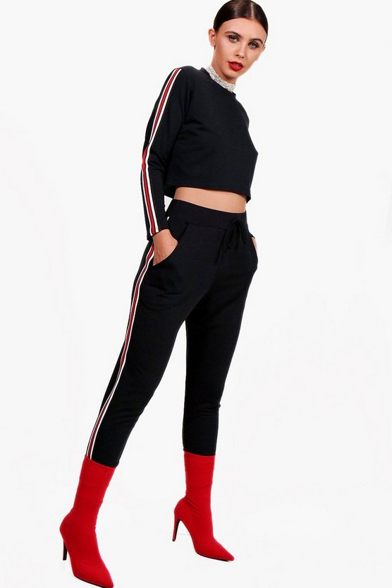 Womens Black Petite Rib Trim Jogger