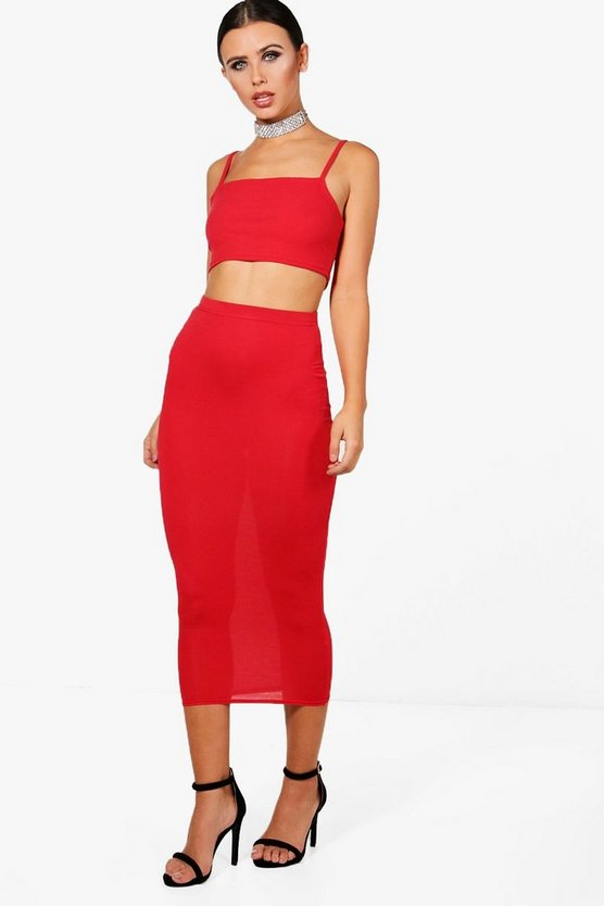 Womens Red Petite  Basic Midaxi Jersey Skirt
