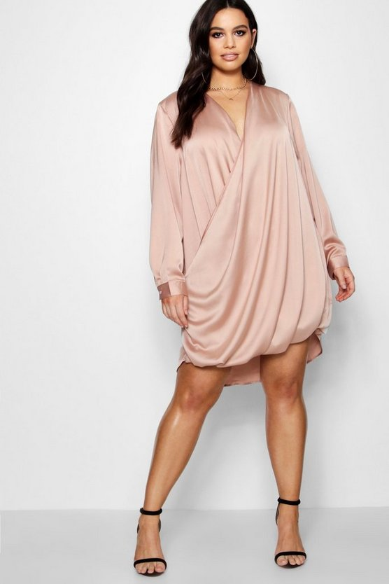 Plus Satin Wrap Dress