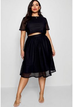Womens Plus Lace Skirt Co-ord