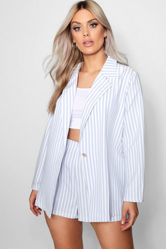 Womens Blue Plus Stripe Blazer + Short Co-ord