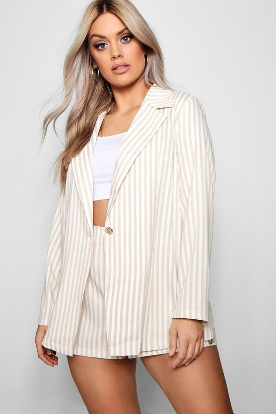 Plus Stripe Blazer + Short Co-ord