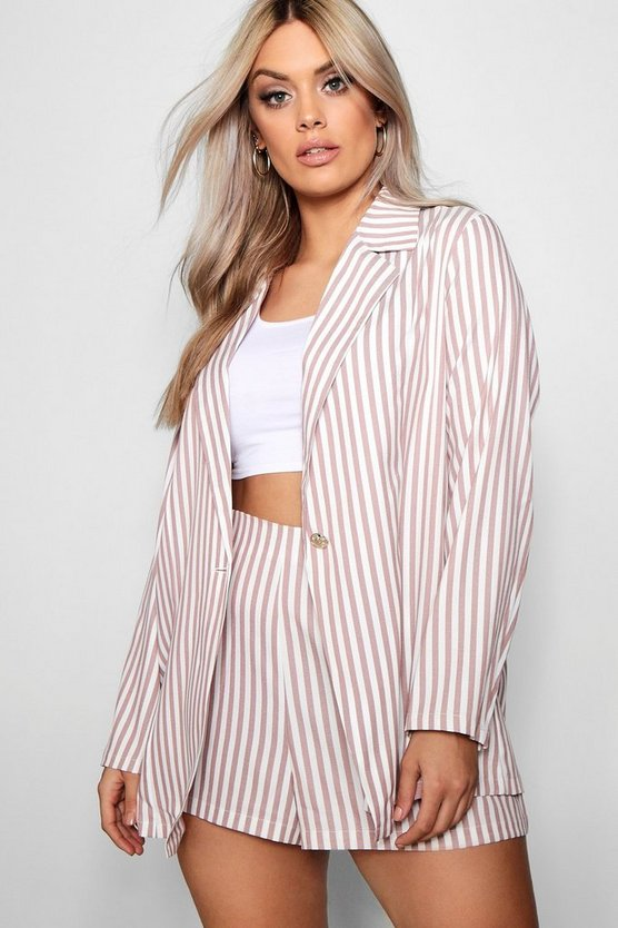 Plus Stripe Blazer + Short Co Ord Plus Stripe Blazer + Short Co Ord by Boohoo