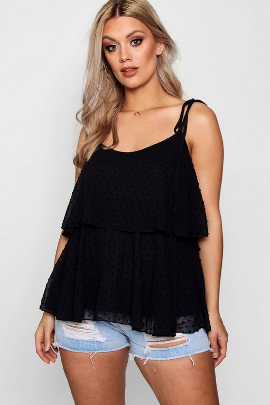 Womens Black Plus Dobby Frill Layered Cami Top