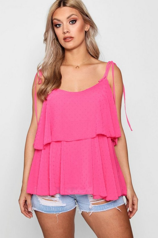 Plus Dobby Frill Layered Cami Top