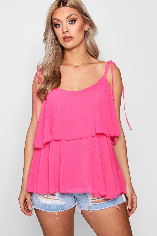Plus camisola capas volante estilo rosa topitos Top en con con T8Awq