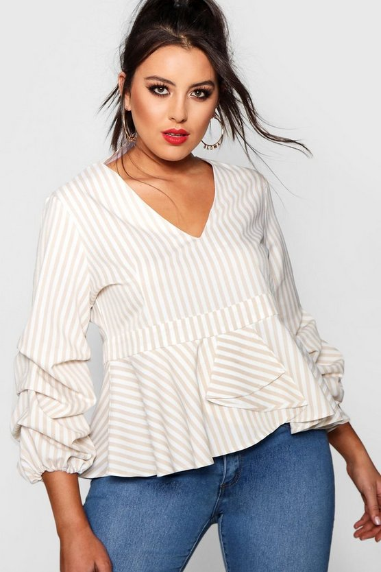 Plus Ruched Sleeve Peplum Top