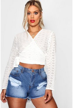 Womens White Plus Embroidery Anglaise Wrap Top