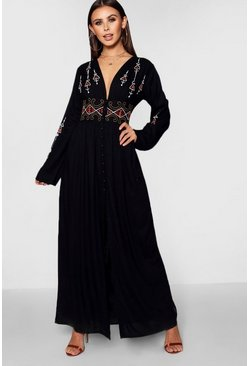 Womens Black Petite  Embroidered Button Front Maxi Dress