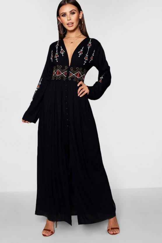 Petite  Embroidered Button Front Maxi Dress