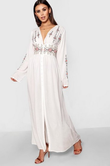 Womens Ivory Petite  Embroidered Button Front Maxi Dress