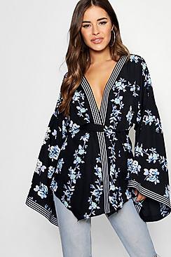 petite border print kimono sleeve wrap top