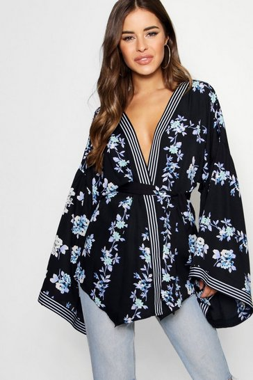 Womens Black Petite Border Print Kimono Sleeve Wrap Top