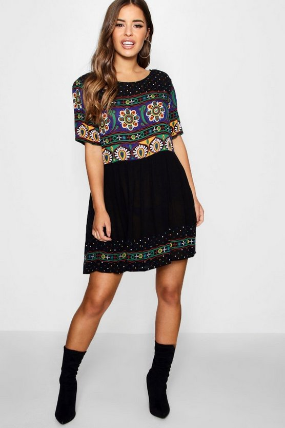 Petite Retro Print Smock Dress
