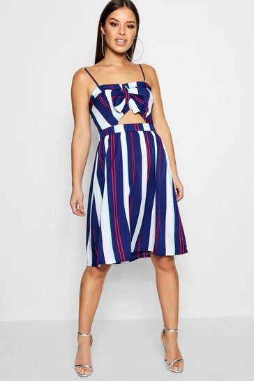 Womens Navy Petite Tie Front Stripe Woven Skater Dress