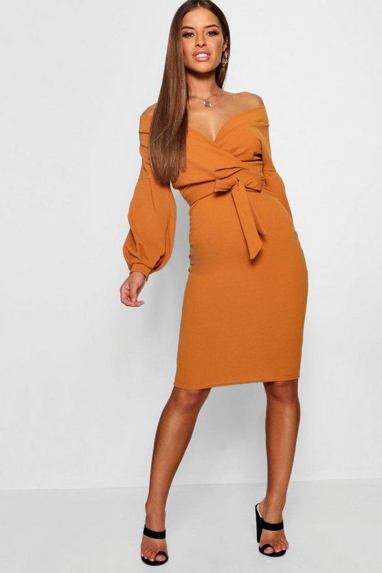 Womens Petite Off The Shoulder Wrap Midi Dress