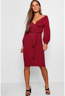Womens Berry Petite Off The Shoulder Wrap Midi Dress