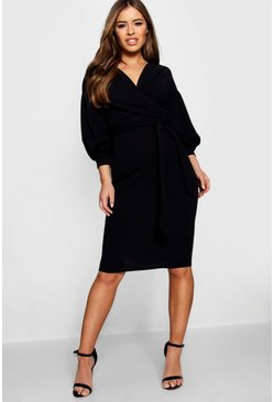 Womens Black Petite Off The Shoulder Wrap Midi Dress
