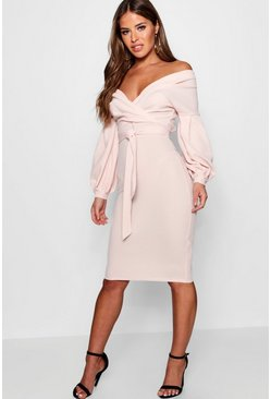 Womens Blush Petite Off The Shoulder Wrap Midi Dress