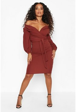 Womens Chocolate Petite Off The Shoulder Wrap Midi Dress