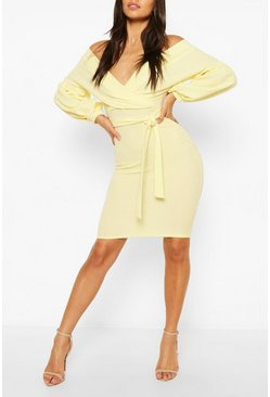 Lemon Petite Off The Shoulder Wrap Midi Dress