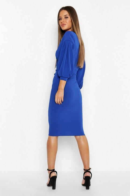 Petite Off The Shoulder Wrap Midi Dress