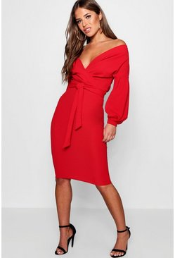 Red Petite Off The Shoulder Wrap Midi Dress