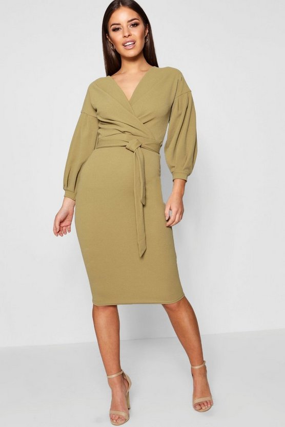 Petite Off The Shoulder Wrap Midi Dress